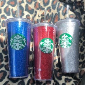3 Starbucks Glitter Tumblers Red, Blue and…